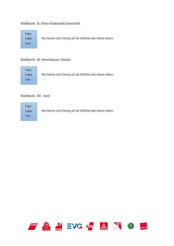 Beispiel für die Wahllisten der Wahlbezirke 11 bis 13