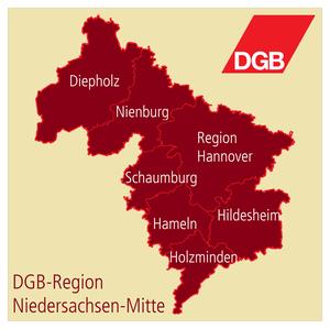 Karte DGB-Region Niedersachsen-Mitte