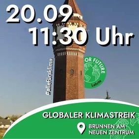 Turm in Lehrte mit Text Globaler Klimastreik und Datum 20.09.