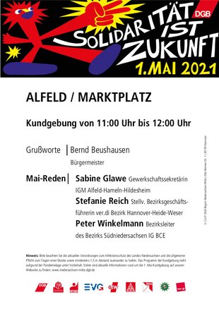 Plakat 1. Mai 2021 in Alfeld