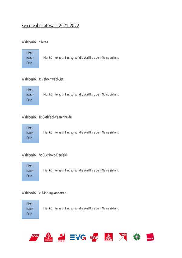 Beispiel für die Wahllisten der Wahlbezirke 1 bis 5