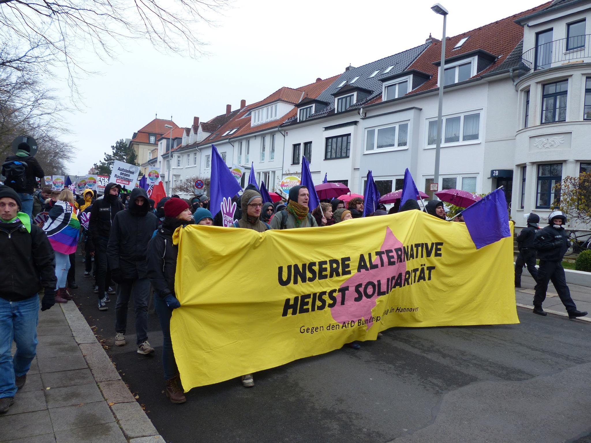 Demonstration gegen AfD Parteitag in Hannover