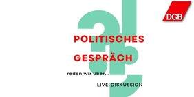 Text politisches Gespräch mit Hintergrund Fragezeichen und Ausrufungszeichen