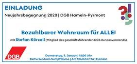 Text Politisches Gespräch mit Logo DGB