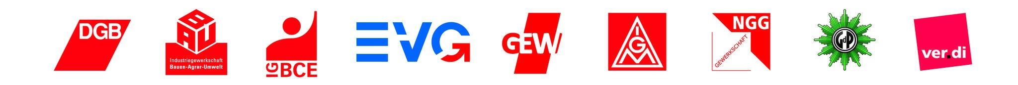 Logoleiste der Gewerkschaften