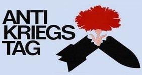 Logo Antikriegstag, zerbrochene Bombe aus der eine Blume wächst