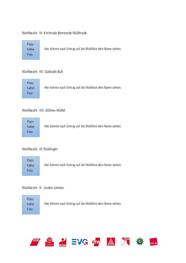 Beispiel für die Wahllisten der Wahlbezirke 6 bis 10