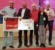 v.l.n.r.: Reinhard Nold (ver.di Lehrte), Frank Werneke (neuer ver.di Bundesvorsitzender), Charly Braun (ver.di                                     Heidekreis, Renate Gerstel (ver.di Heidekreis, Steuerfachfrau), Jürgen Hesse (ver.di Holzminden)