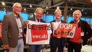 v.l.n.r.: Reinhard Nold, Frank Bsirske (alter ver.di Bundesvorsitzender, Reiner Hoffmann (DGB-                                      Bundesvorsitzender, Charly Braun